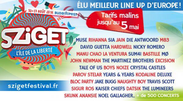 Le Sziget festival, meilleur festival d'Europe, se tiendra du 10 au 17 août 2016 à Budapest !