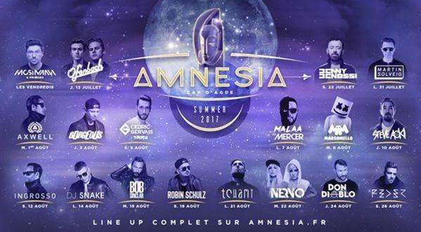 Line-up Amnésia Cap d'Agde 2017