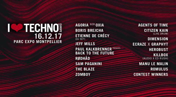 Concours : Gagne tes places pour le festival I LOVE TECHNO EUROPE le 16 / 12 au Parc Expo Montpellier