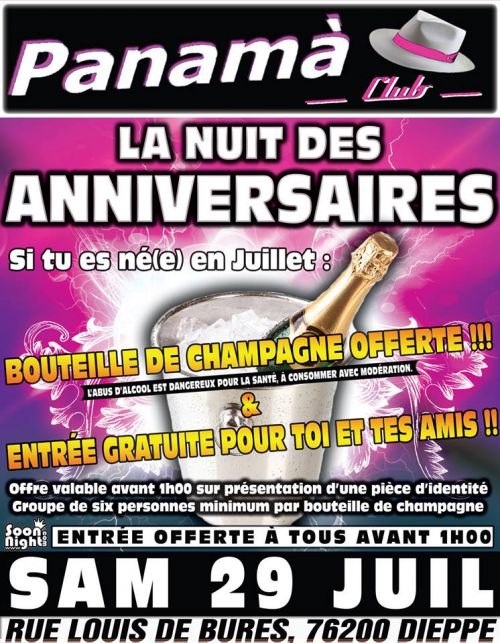 Soirée clubbing LA NUIT DES ANNIVERSAIRES  Samedi 29 juillet 2017