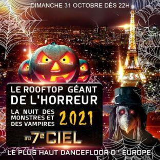 Soirée clubbing LE ROOFTOP GEANT DE L' HORREUR TOUR EIFFEL HALLOWEEN EXCEPTIONNEL 2000 VAMPIRES Dimanche 31 octobre 2021