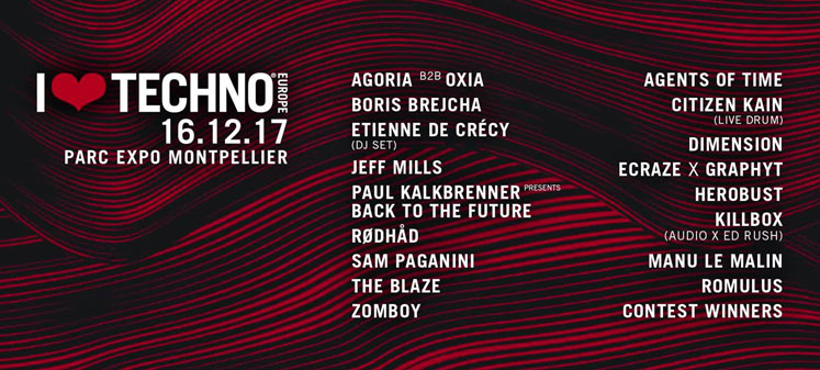 Concours : I Love Techno Europe @ Parc Expo Montpellier le 16/12