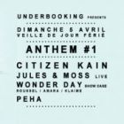 Soirée clubbing ANTHEM#1 with ◆CITIZEN KAIN ◆ JULES & MOSS live ◆PEHA◆WONDER DAY SHOW CASE Dimanche 05 avril 2015