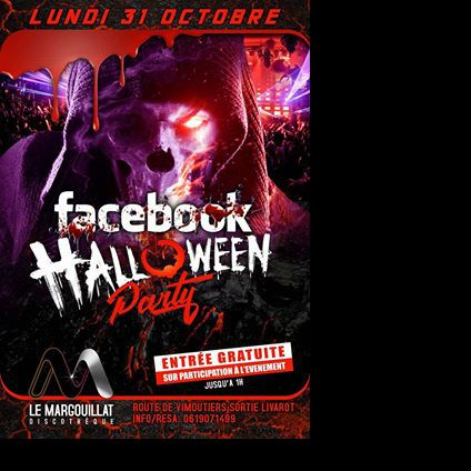 Soirée clubbing Facebook Halloween Party Lundi 31 octobre 2016