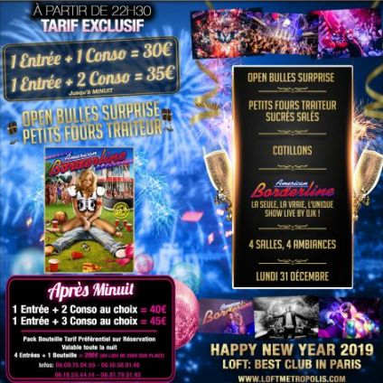 Soirée clubbing Happy New Year + American Borderline Lundi 31 decembre 2018